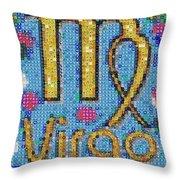 Virgo Zodiac Mosaic Throw Pillow