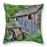 Visiting The Old Mill Throw Pillow