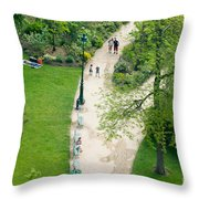 Visitors In The Champ De Mars Throw Pillow