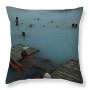 Visitors To Thermal Springs Of The Blue Throw Pillow