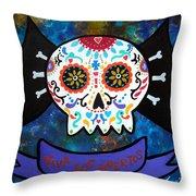 Viva Los Muertos Bat Throw Pillow