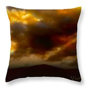 Vivachas Golden Hour Sunset Glowing Clouds  Throw Pillow