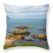 Volcanic Rock Formations In Ballintoy Bay Throw Pillow