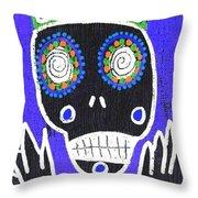 Voodoo King Sugar Skull Angel Throw Pillow