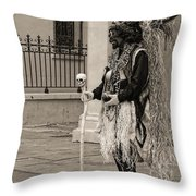 Voodoo Man In Jackson Square New Orleans- Sepia Throw Pillow