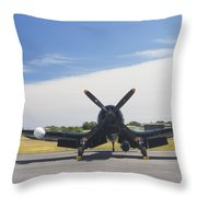 Vought F4u Corsair Fighter Plane On Runway Canvas Photo Poster Print Throw Pillow