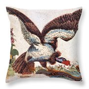 Vulture Attacking A Snake Throw Pillow