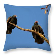 Vultures On A Branch Throw Pillow