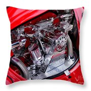 Vw Beetle With Chrome Engine Throw Pillow by Kaye Menner
