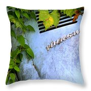 Vw Bug With Vines Throw Pillow