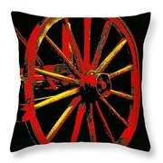 Wagon Wheel In Red Throw Pillow
