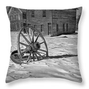 Wagon Wheel In Winter Throw Pillow