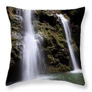 Waikani Falls And Pond Throw Pillow