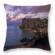 Waikiki At Night Throw Pillow