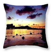 Waikiki Lagoon Dawn Throw Pillow
