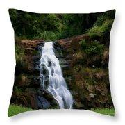 Waimea Valley Falls Throw Pillow