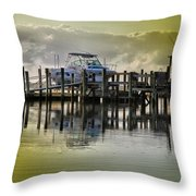 Waiting Boats Throw Pillow