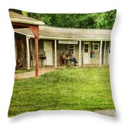 Waiting By The General Store Throw Pillow by Paul Ward
