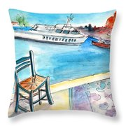 Waiting For Godot In Crete Throw Pillow
