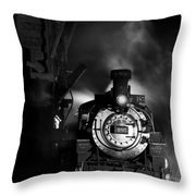 Waiting For More Coal Black And White Throw Pillow