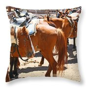 Waiting For The Next Rider Throw Pillow