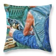Waiting For The Parade Watercolor Throw Pillow