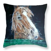 Waiting - Horse Portrait Throw Pillow
