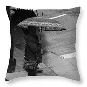 Waiting In The Rain Throw Pillow