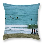 Waiting Surfers Throw Pillow