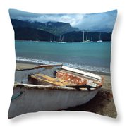Waiting To Row In Hanalei Bay Throw Pillow
