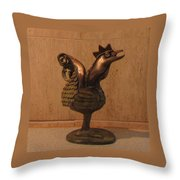 Wakeup Call Rooster Bronze Sculpture With Beak Feathers Tail Brass And Opaque Surface  Throw Pillow