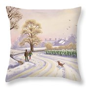 Walk In The Snow Throw Pillow by Lavinia Hamer