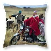 Walk Through The Highlands. Republic Of Bolivia.  Throw Pillow