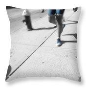 Walking Blues Throw Pillow