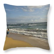 Walking In The Water At  Anahola Beach Throw Pillow