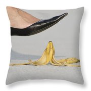 Walking On Banana Peel Throw Pillow