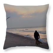 Walking On The Beach - Cape May Throw Pillow