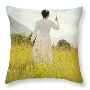 Walking On The Meadow Throw Pillow
