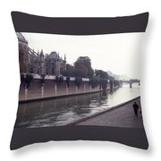 Walking The Dog Along The Seine Throw Pillow