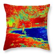Walking The Dog On A Hot Day Throw Pillow