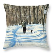 Walking The Dog Throw Pillow by Paul Ward