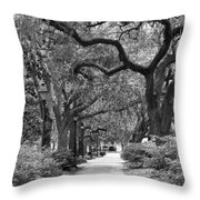 Walking Through The Park In Black And White Throw Pillow by Suzanne Gaff