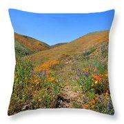 Walking Thru The Wildflowers Throw Pillow