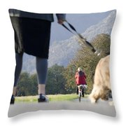 Walking With Her Dogs Throw Pillow