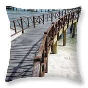 Walkway To Holiday Huts Over Lagoon Throw Pillow