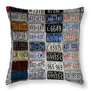 Wall Of License Plates Throw Pillow