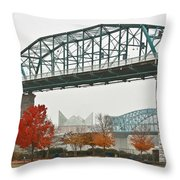 Walnut Street Bridge Throw Pillow by Tom and Pat Cory