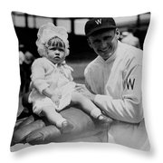Walter Johnson Holding A Baby - C 1924 Throw Pillow