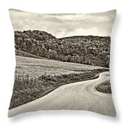 Wandering In West Virginia Sepia Throw Pillow