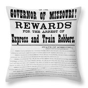 Wanted Poster, 1881 Throw Pillow
